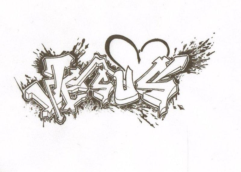 Jesus graffiti tattoo sample