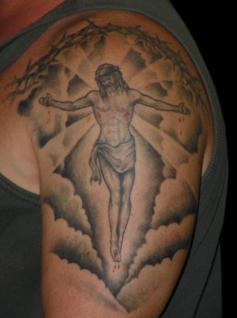 Jesus in clouds tattoo design