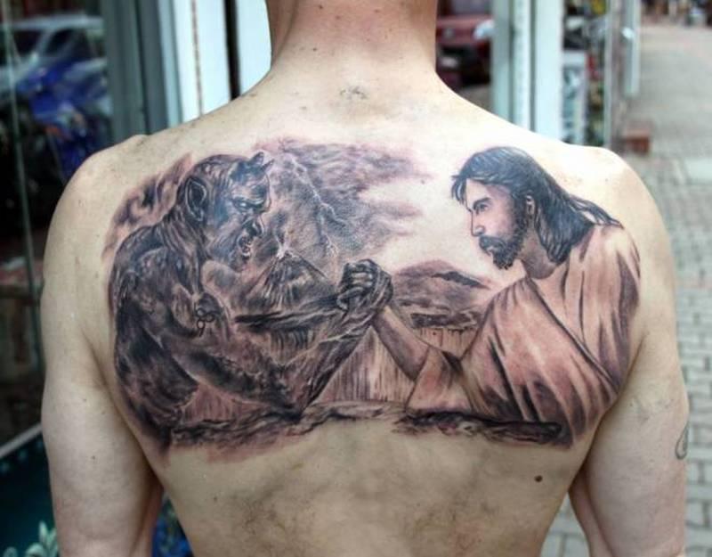 445ff734ed95e Jesus vs satan tattoo on back - Tattoos Book - 65.000 Tattoos Designs