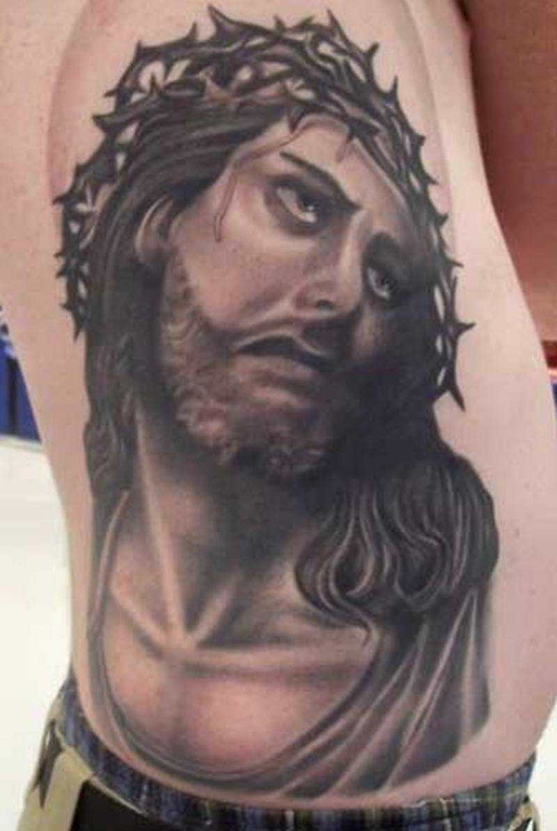 Jesus with crown of thorns tattoo design 2