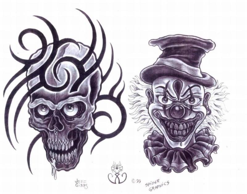 Killer clown designs tattoo