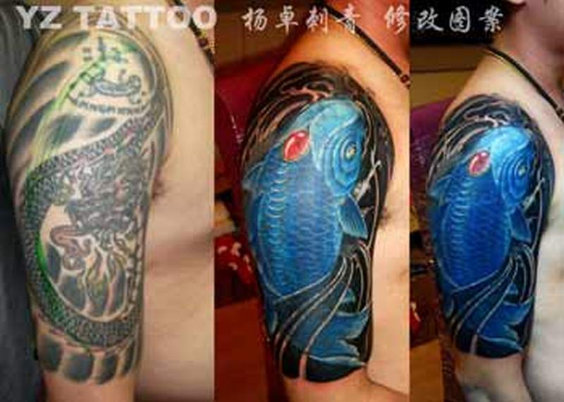 koi fish cover up tattoo design tattoos book 65 000 tattoos designskoi fish cover up tattoo design