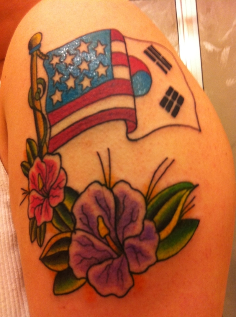 Korean american flag n hibiscus flower tattoo design tattoos book korean american flag n hibiscus flower tattoo design izmirmasajfo