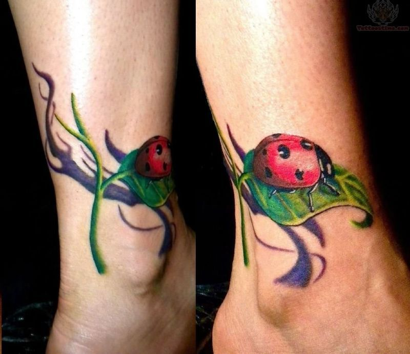 Lady bug tattoo on ankle
