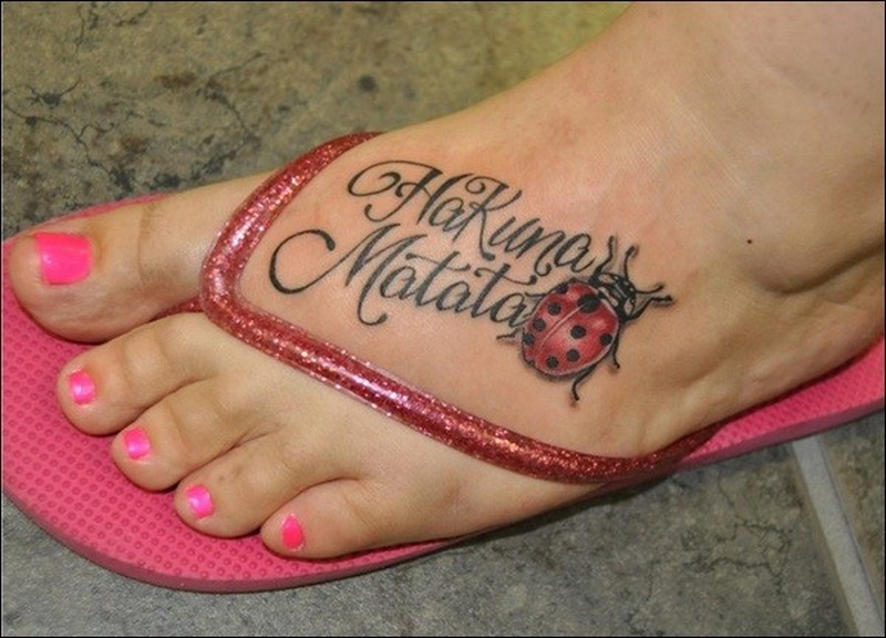 Ladybug Hakuna Matata Tattoo On Foot Tattoos Book 65000 Tattoos