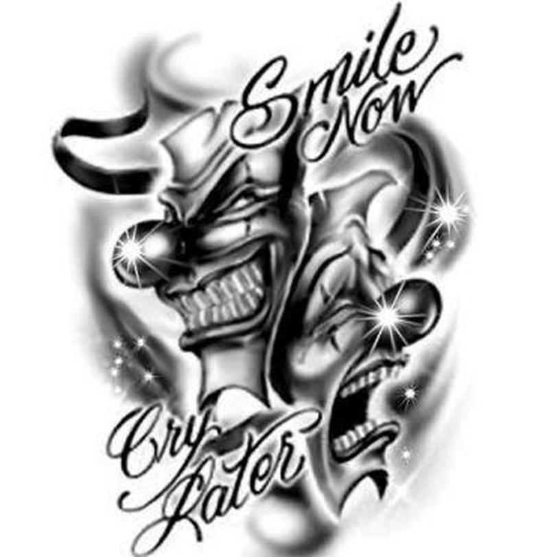 Laugh now cry later joker tattoo design