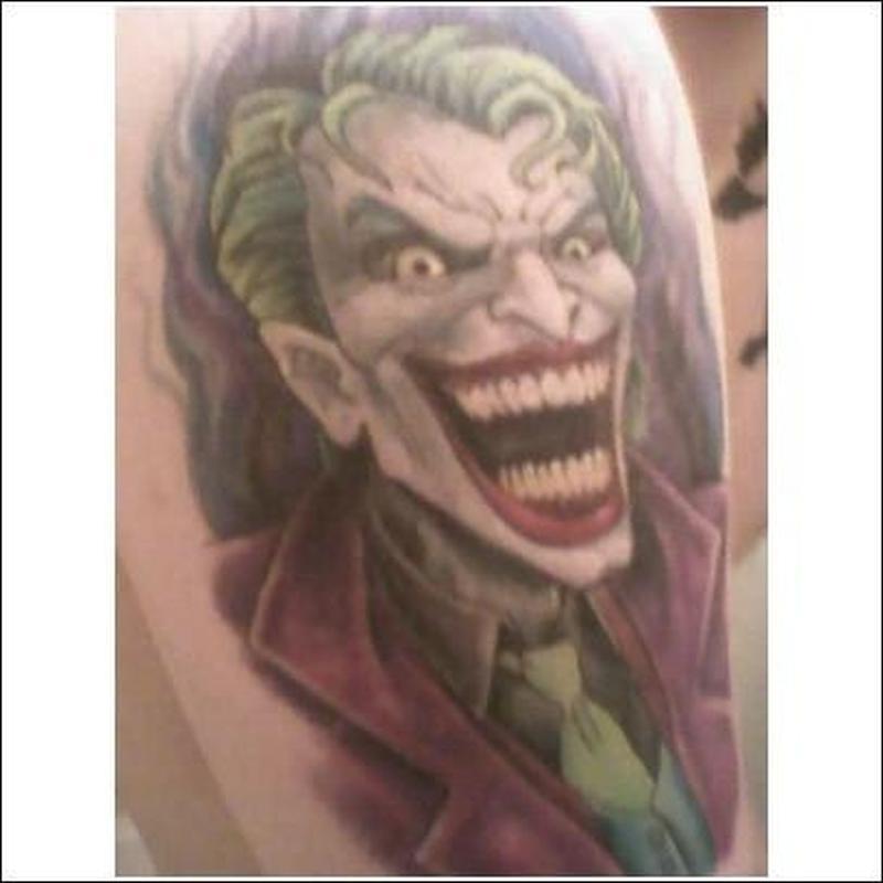 Laughing joker tattoo design