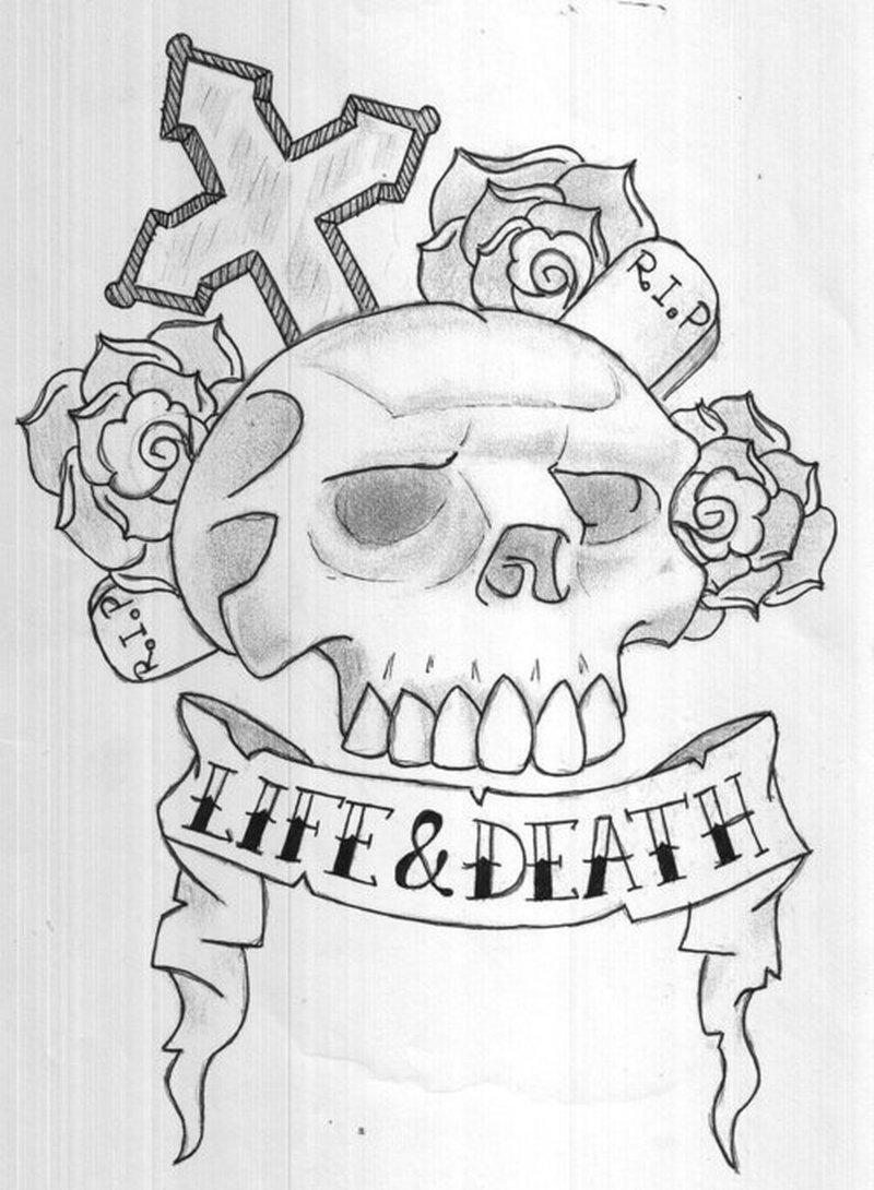 life death skull design tattoo tattoos book tattoos designs. Black Bedroom Furniture Sets. Home Design Ideas