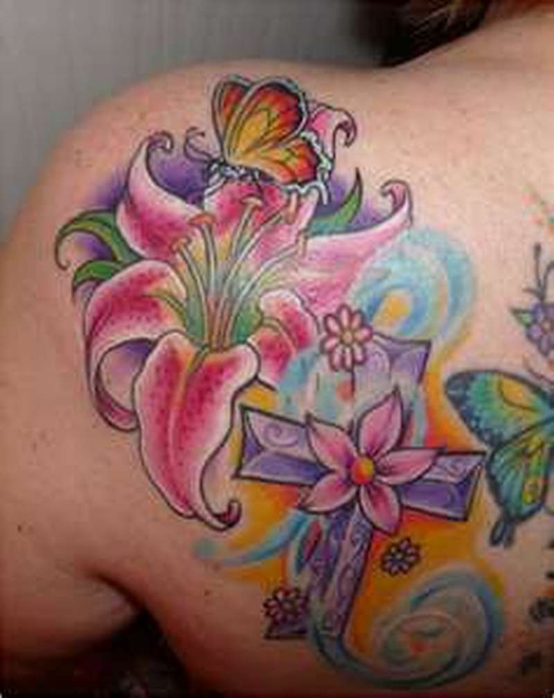 lily flower n butterfly tattoo design 2 tattoos book tattoos designs. Black Bedroom Furniture Sets. Home Design Ideas