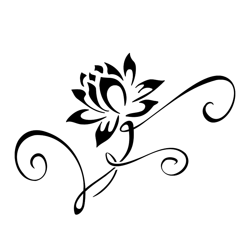 Lotus flower tattoo stencil 2