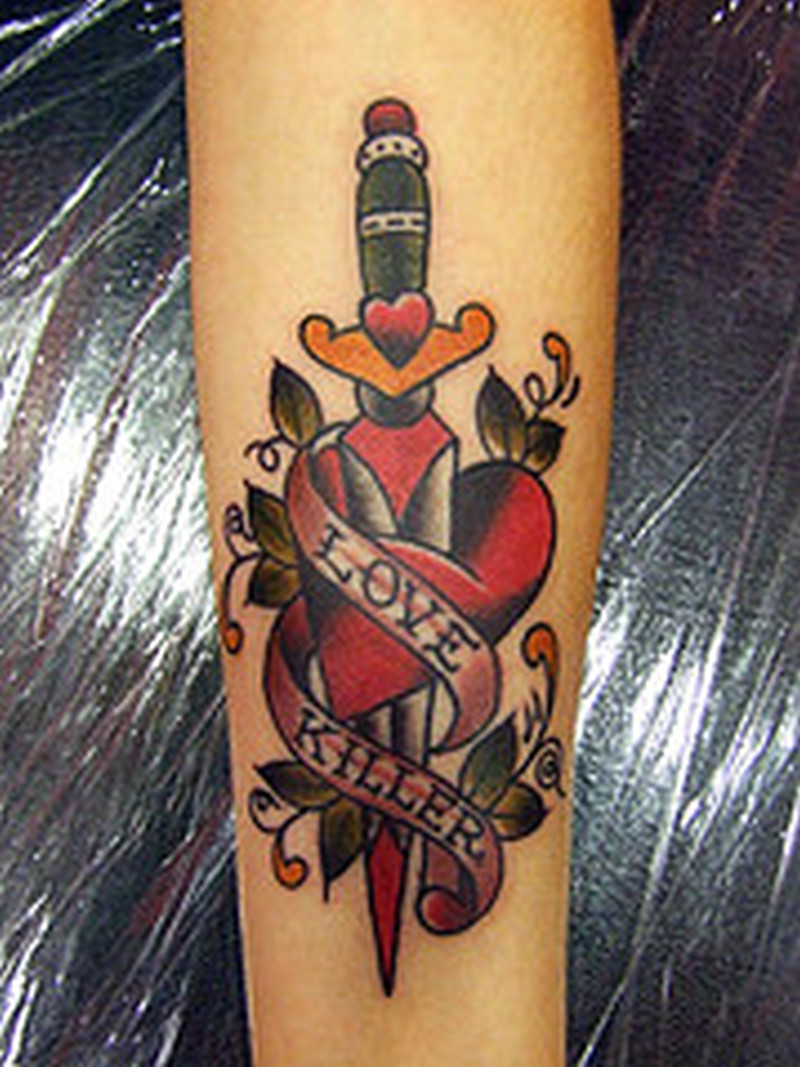 Love killer dagger design tattoo