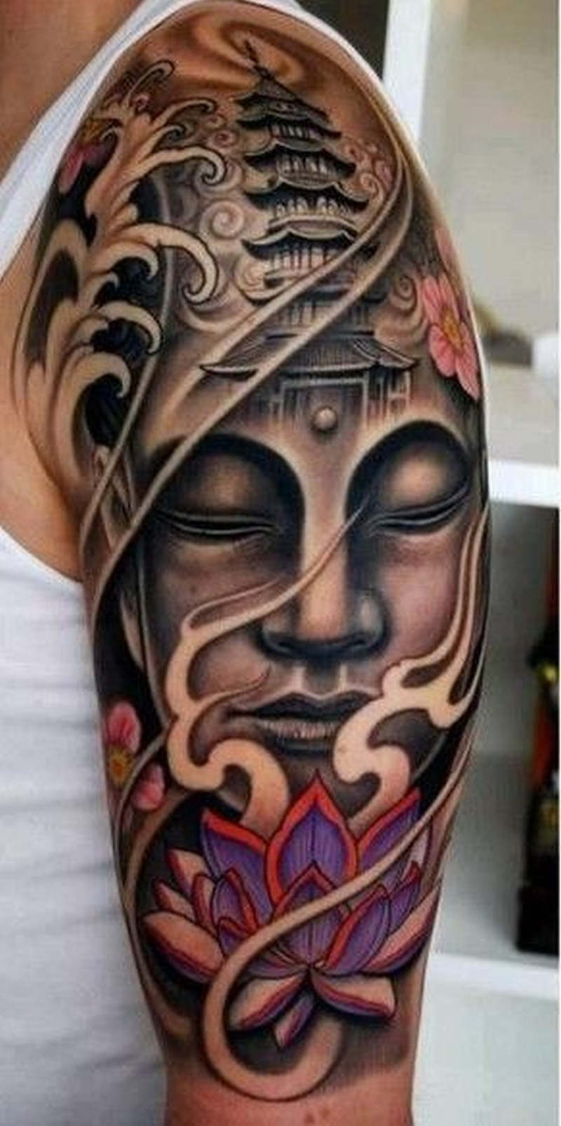 lovely face buddha witn lotus tattoo on arm tattoos book tattoos designs. Black Bedroom Furniture Sets. Home Design Ideas