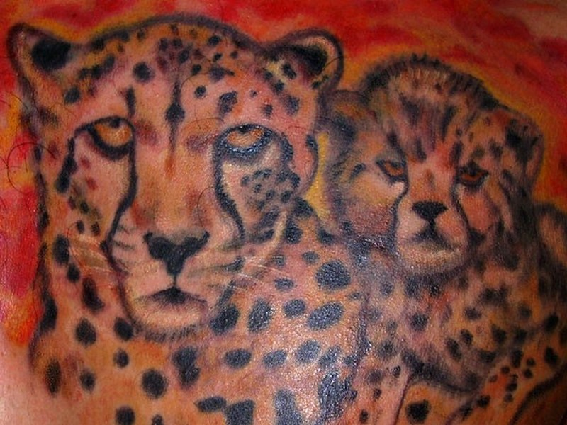 Lovely leopard family tattoo