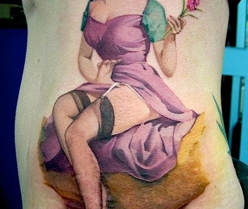 Lovely vintage pin up girl in lilac dress with flower tattoo by David Corden