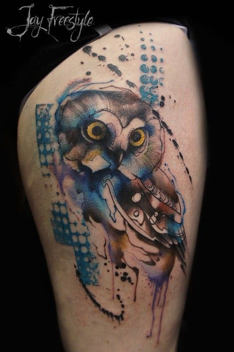 Lovely watercolor owl tattoo by Jay Freestyle