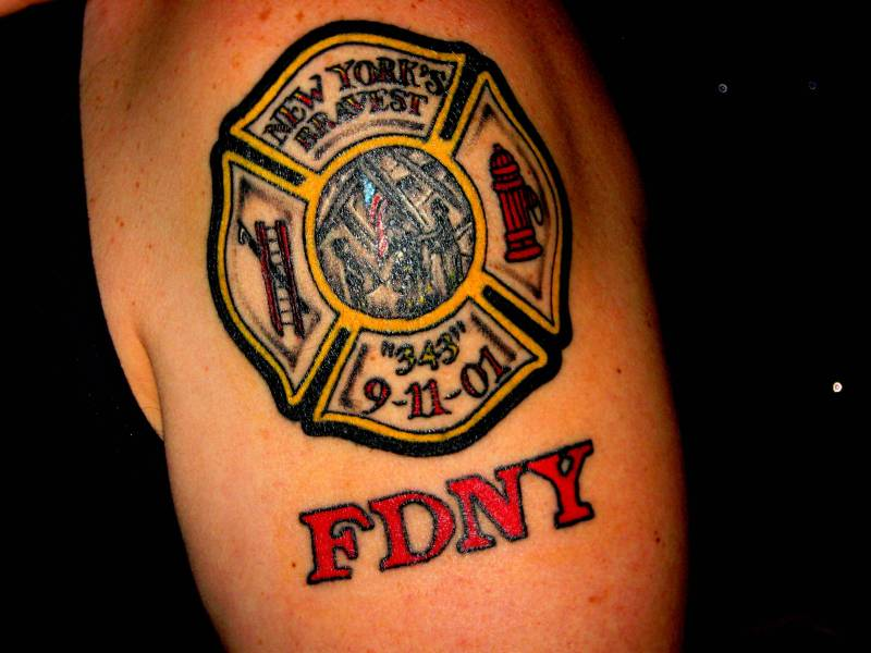 Maltese cross firefighter tattoo
