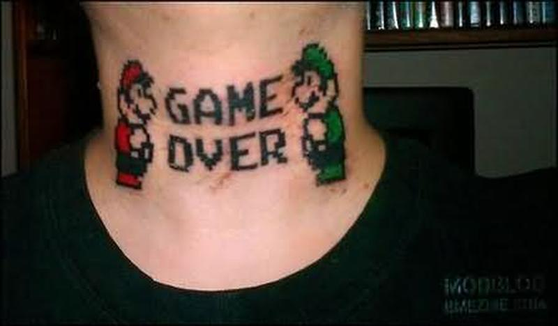 Mario game over geek tattoo on neck