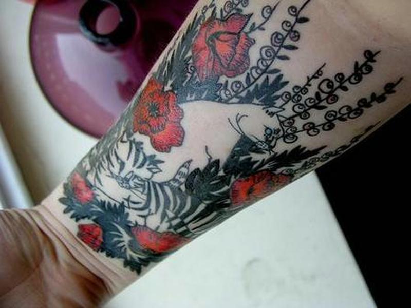 Marvelous cat tattoo design