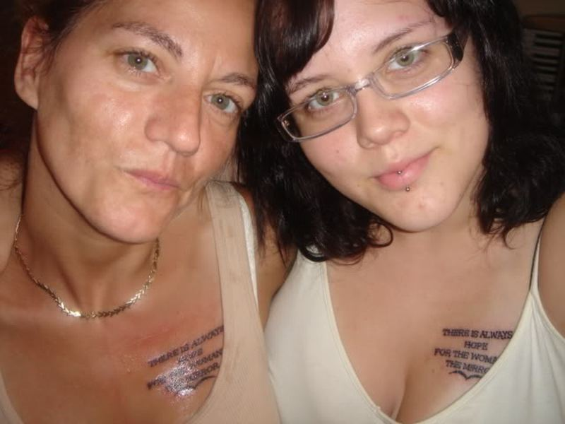 Matching friendship tattoo on chests for women