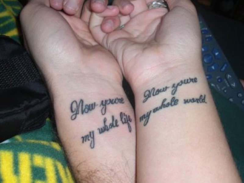 Matching wrist tattoo for couples