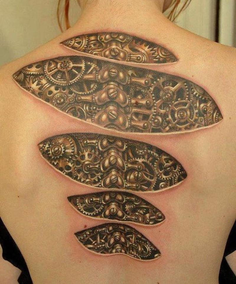 Mechanisms Under Skin Tattoo On Back Tattoos Book 65 000 Tattoos Designs A scary tattoo design of biomechanical stuff under the skin. tattoos book