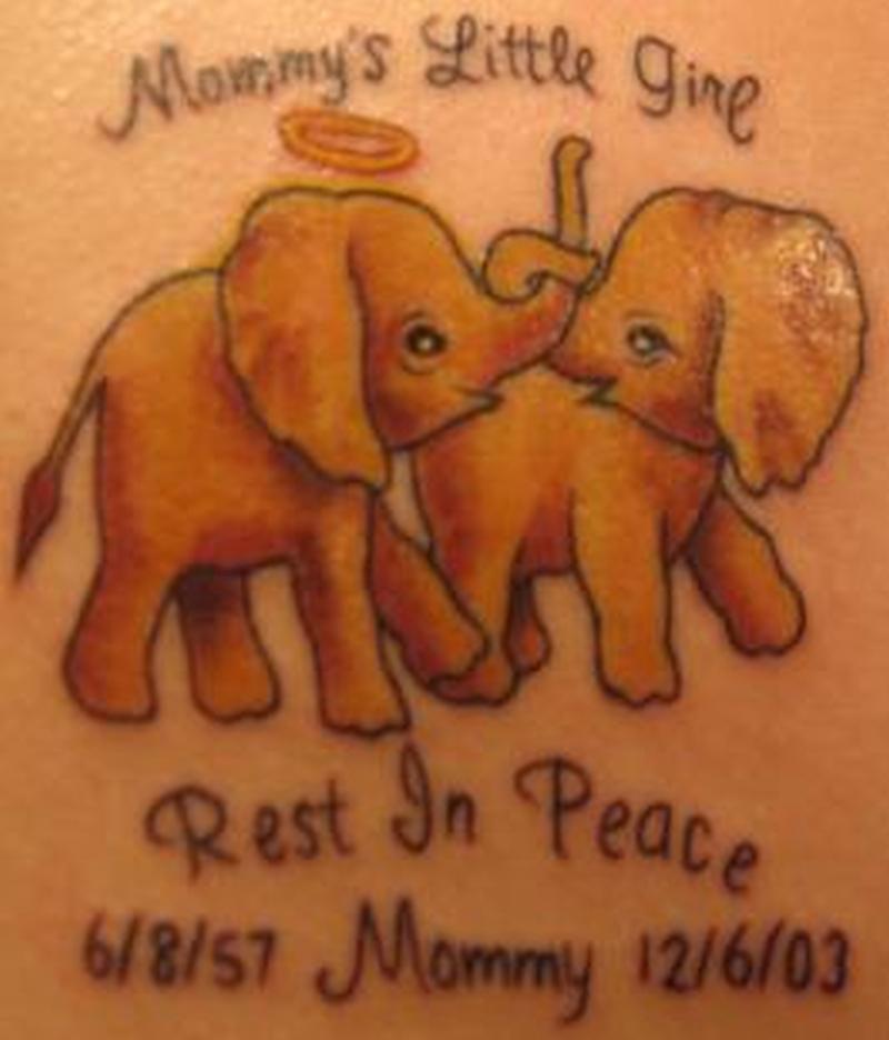 Memorial baby elephant tattoo designs
