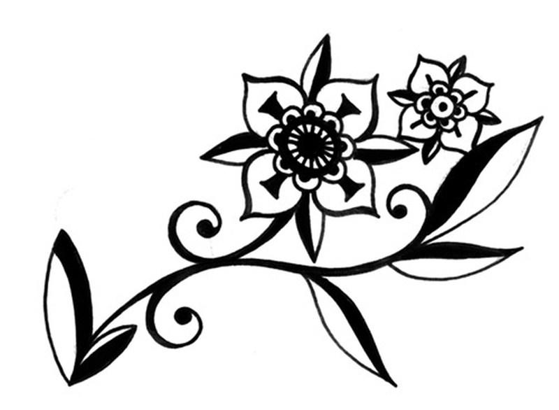 Modern floral tattoo sample