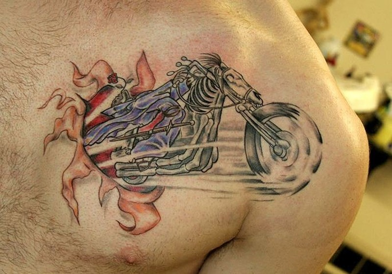 motorcycle transforms horse tattoo on chest tattoos book tattoos designs. Black Bedroom Furniture Sets. Home Design Ideas