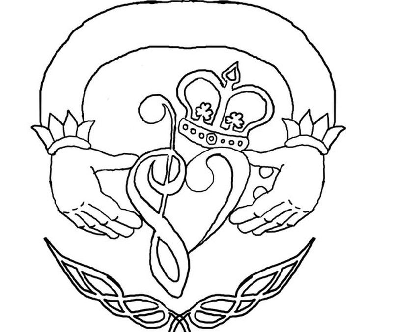 Music claddagh tattoo design