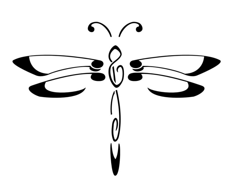 Music dragonfly tattoo design