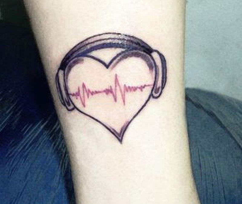 Music heart tattoo design for girls