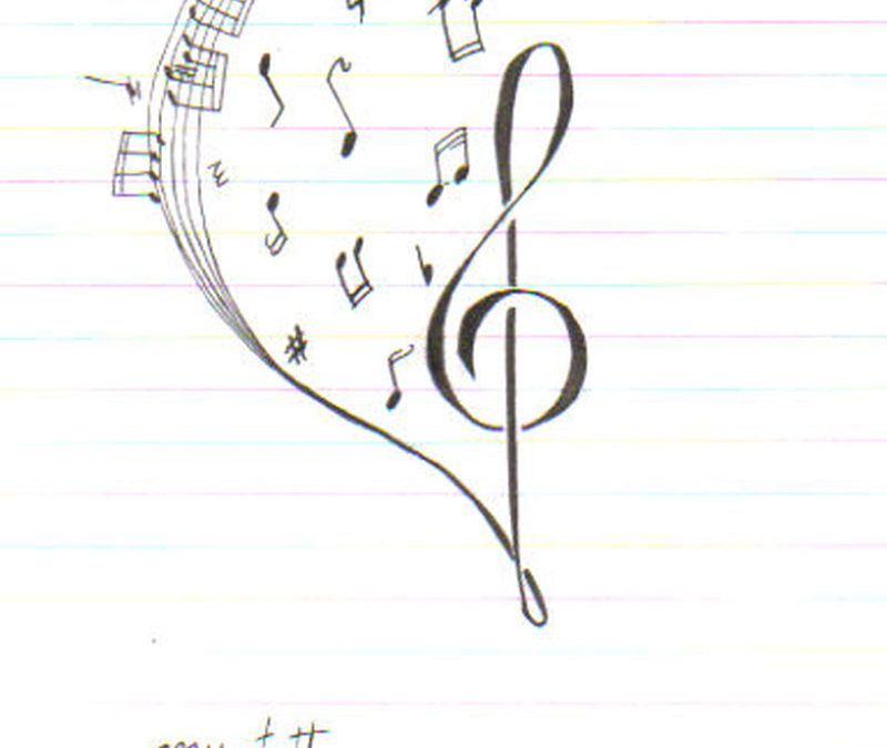 Music heart tattoo sketch