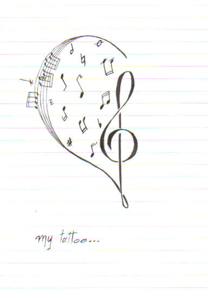 Music heart tattoo sketch
