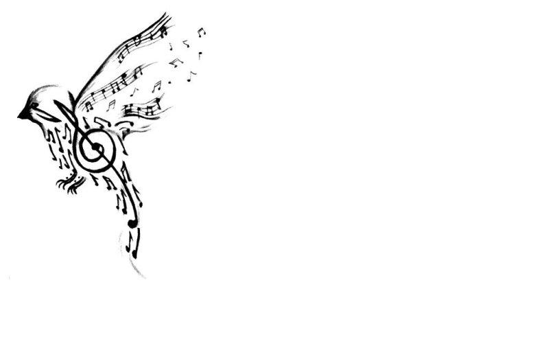 Musical bird tattoo design