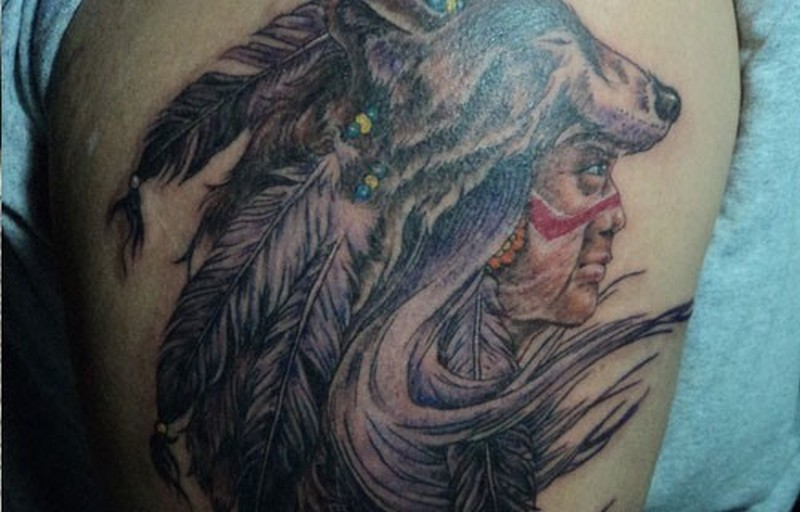 native american chief in a mask wolf tattoo tattoos book tattoos designs. Black Bedroom Furniture Sets. Home Design Ideas