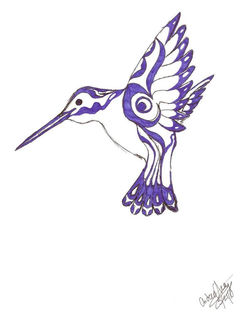Native american hummingbird tattoo design