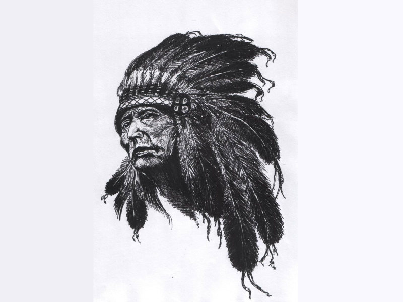 Native indian chief tattoo sketch