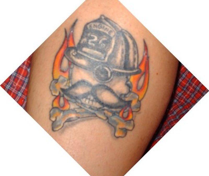 Natty boh firefighter skull tattoo design