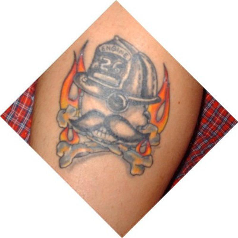 Natty boh firefighter skull tattoo design
