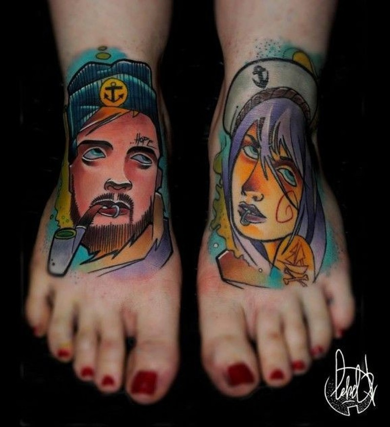 Neo traditional sailor tattoo on feet by Lehel Nyest