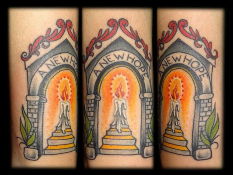 New hope candle tattoo design