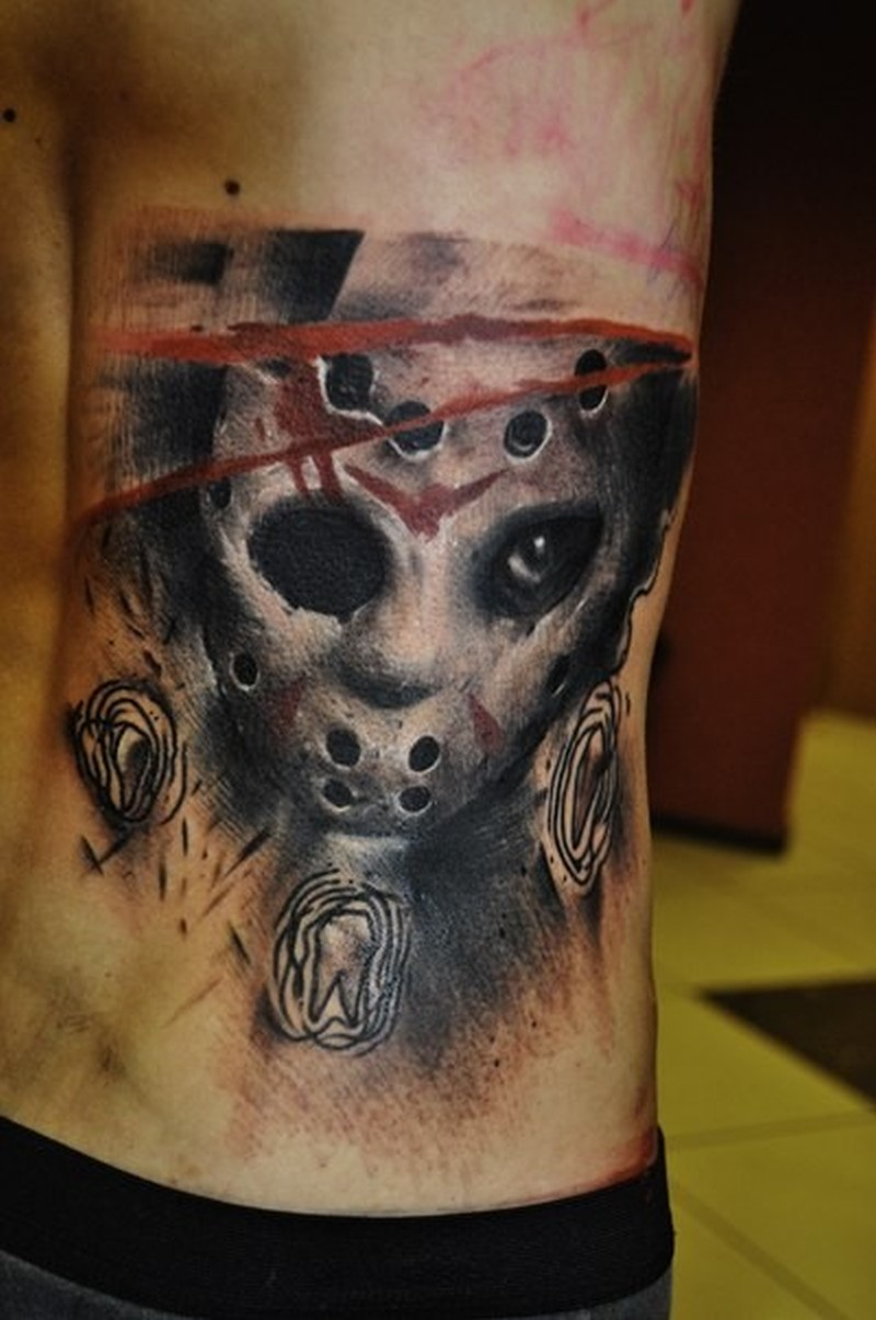 New style friday the 13 movie horror tattoo