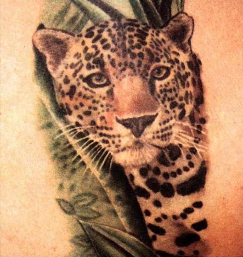 Nice colorful leopard in bush tattoo