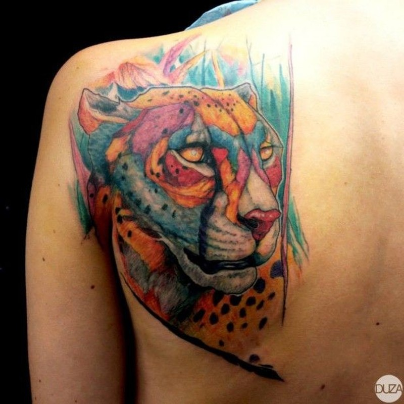 Nice coloured leopard tattoo by Duza