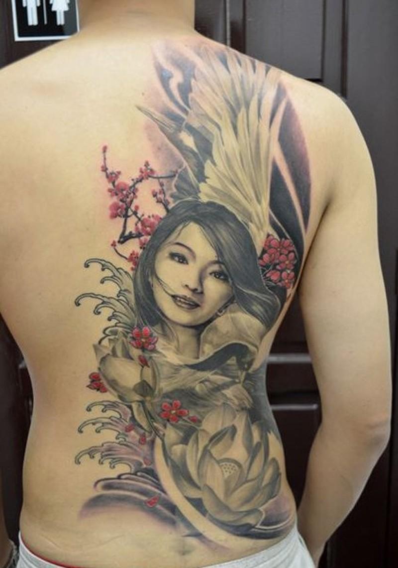 Nice girl and lotus flower tattoo on back tattoos book 65000 nice girl and lotus flower tattoo on back izmirmasajfo