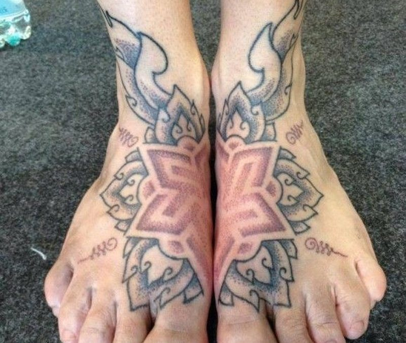 Nice great mandala tattoo on feet by Karolina