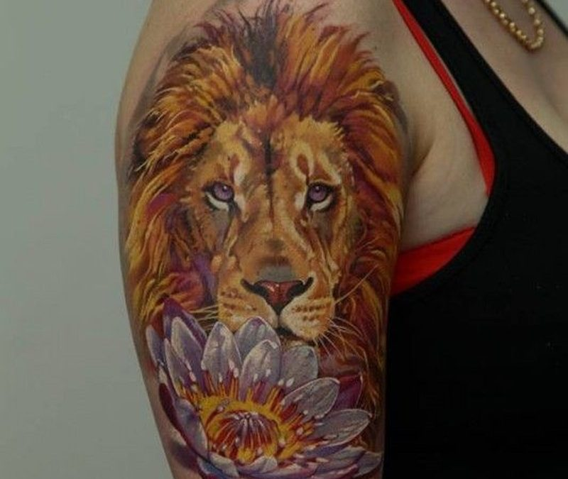 Nice lion and flower tattoo by Dmitriy Samohin