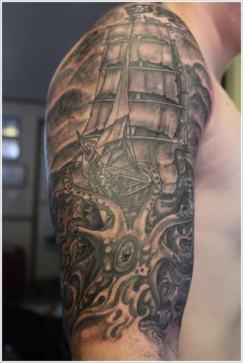 Octopus attack on a ship tattoo on half sleeve