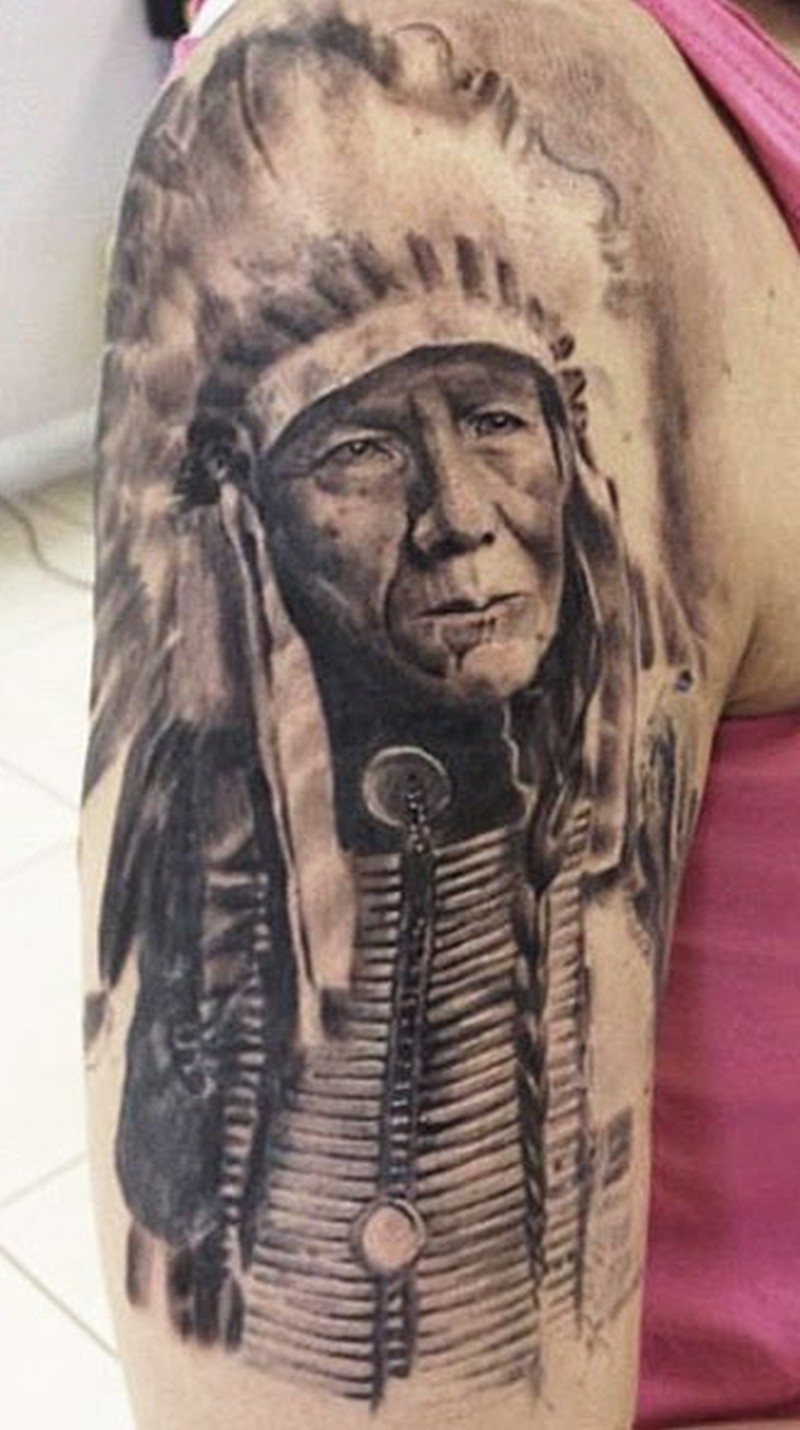 old native american chief tattoo on half sleeve tattoos book. Black Bedroom Furniture Sets. Home Design Ideas