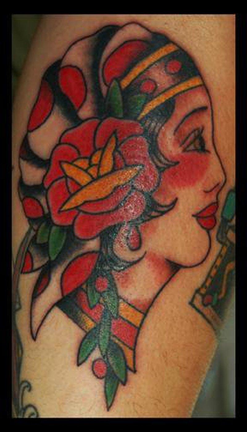 Old school gypsy woman design tattoo